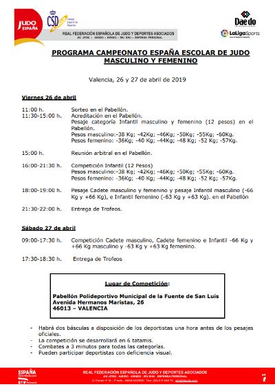 Programa del Campeonato España Escolar de Judo